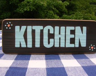 Kitchen Wooden Sign - Handpainted, Woodburned, Wood Sign - Kitchen, Cabin, Dining Room Sign