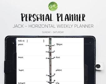 Personal Planner - Horizontal Weekly Printable Insert - (Sunday - Saturday) [Jack]