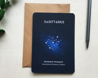 SAGITTARIUS postcard. sagittarius constellation star sign zodiac astrology - sagittarius card stationery birthday gift - sagittarius sign
