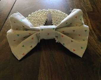 Muliti Colored Triangle Headband, Girls Headband, Crocheted Headband, Cream Headband with Triangles