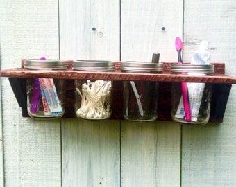 mason jar organizer bathroom organizer rustic bathroom wall decor makeup brush holder