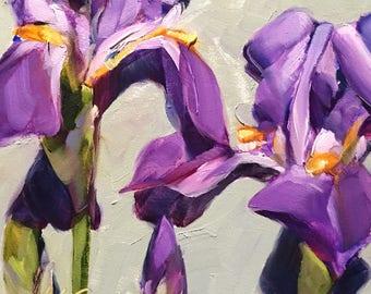 feeling peaceful // iris painting // iris art // purple iris painting // purple flower painting // purple flower art // original painting