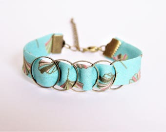 Liberty bracelet turquoise blue and khaki and bronze rings brass