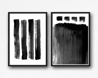 graphic design art,Black & White Abstract Set of 2 Prints, Digital Download, Scandinavian Art, Printable Art, Black and White Painting