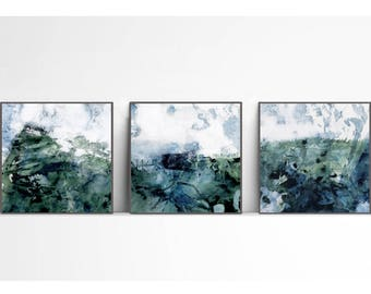 set of 3, Downloadable print, Contemporary Wall Art, Minimalist Art  ,Printable blue  and green art,  blue and white, landscape abstract