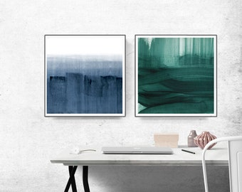 Set of 2 Prints, navy blue and teal, Green Abstract Print ,  Abstract Painting Solitude Is Bliss Minimal Art Print. Wall Art, Wall Decor.