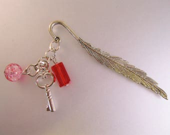 Feather Skeleton Key Charm Red Bead Hand Made Personalized Book Mark