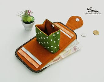 Cactus Lovers Mini Purse, Change Purse, Coin Wallet, Bi-fold Wallet, Canvas Coin Purse, Small Wallet, Magnetic Closure - Made to Order