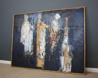 SOLD: Large Mid Century Oil Painting Robine C 3 Kings Art Retro Vintage 50s 60s 70s