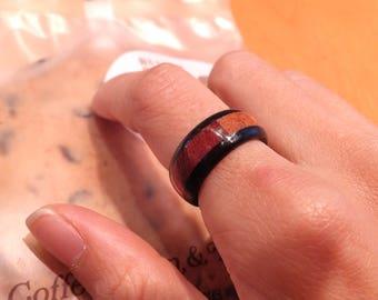 Chansthinks handmade Segmented 3 Layered wooden ring/Padouk/Yellow/Ebony/Name Engrave/Korean