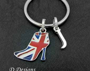 Shoe Keyring, Shoe KeyChain, Union Jack Key Chain, Unicon Jack Keyring, Personalised Keychain, British Flag Gifts, Union Jack Jewellery