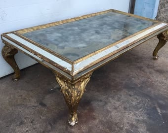 Vintage Gold Gilt Coffee Table with Tarnished Mirror Top
