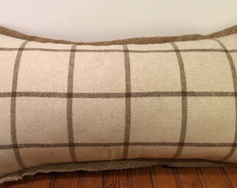 Ivory Brown Window Pane Plaid with Burlap Flange Decorative Throw Pillow Cover Ralph Lauren Pillows Rectangle 13 x 24""