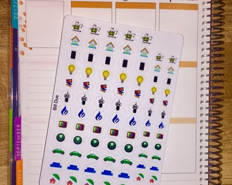 Bills Due (with mini's!)  Planner Stickers for use with Erin Condren Life Planner and others