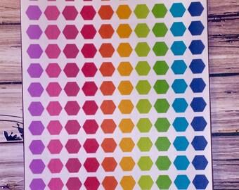 Rainbow Hexagon Planner Stickers