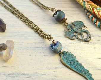Dragon Charm necklace, Wing necklace, Quartz necklace, Blue titanium necklace, Crystal necklace, Festival jewelry