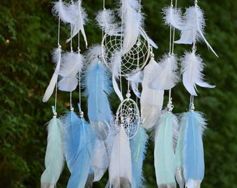 Baby Boy Nursery Mobile, Dream Catcher Mobile, Baby Shower Gift, Blue Mint Silver Decor, Silver Mint Nursery Decor, Baby Boy Nursery Mobile