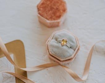 Ring Box - Velvet Ring Box - Vintage Style - Proposal Ring Box - Engagement ring box - Wedding - Personalized Gift - Octagon - Desert & Milk