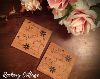 Mr and Mrs Wooden coasters - personalised drinks coasters, personalised gifts, wood coaster, wood burned, wedding gift, bride and groom