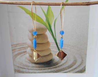 Blue sequin Golden brass pendant earrings