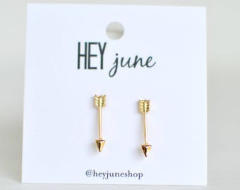 Gold arrow earrings, Arrow Earrings rose gold arrow earrings, silver arrow earrings, minimalist earrings, arrow stud earrings
