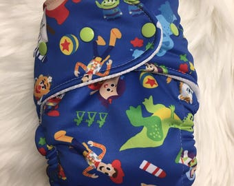 Toy Story Disney Hybrid Fitted Diaper Cloth Diaper Zorb Fold Down Rise One Size OS Best Cloth Diaper WAHM made birth to potty training