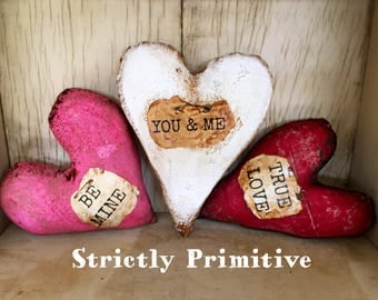 primitive valentines hearts primitive hearts sweethearts valentines rustic valentines decor - Pictures Of Valentines Hearts
