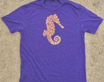 Seahorse flowers women's v neck, tri blend, purple frost,men's sizes**free shipping**