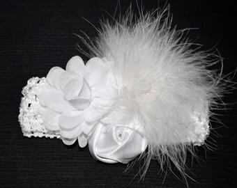 White Baptism Headband, Baby Headband, Infant Headband, Newborn Headband, Christening Headband, White Baby Headband,Baby Headband