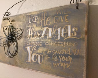 Hand Lettered Angel Bible Verse Wood Sign accented with Wire Sculpted Angel and Wire Hanger