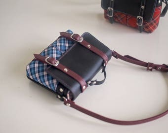 Handmade Messenger Bag for BJD 1/3 sized (Blue Plaid)