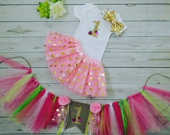 First Birthday Baby Girl outfit with matchibg  High chair banner, one Birthday outfit, First Birthday Girl's