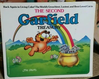 The Second Garfield Treasury by Jim Davis/Vintage 1983 First Edition Paperback Book/Comic Strip Cartoons/Garfield the Cat/Garfield and Odie