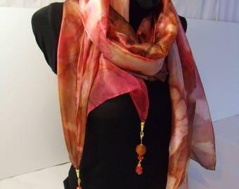 "Boho chic ""Bohemian"" hand painted silk shawl"