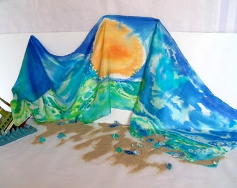 """Marine scents"" hand painted silk shawl"