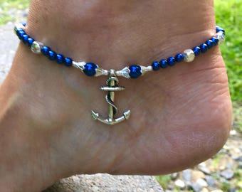 Ankle Bracelet, Anchor Anklet, Beach Anklet, Nautical Anklet, Anklet, Ankle Jewelry, Beach Jewelry