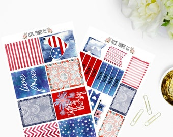 Fourth of July Planner Sticker Kit for use with, Erin Condren, Life Planner, Happy Planner, Mambi, Create 365, Planner Stickers