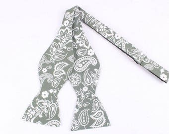 Green/gray And Cream - Self Tie Bow Tie| Flower | Self Tie | Bow Tie | Bowtie | Floral | Wedding | Groom | Gift | Ideas | for him