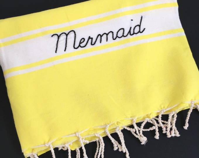 """Fouta jaune fluo """"Mermaid"""""""