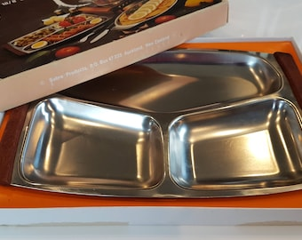 Vintage New Zealand Stainless Steel Serving Tray. Made in New Zealand. Original Box. 1970s Vintage Retro. New Zealand.