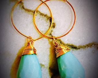 Mint Green and Gold Wrapped Rutilated Teardrop Earrings