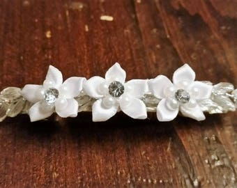 White Floral Bridal/Bridesmaid/Any Occasion Hair Barrette