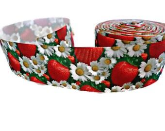 "9 m Ribbon - grosgrain Ribbon, Large, ""Strawberries and Daisies"""