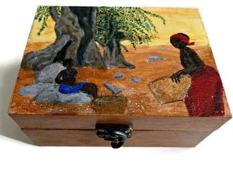 """Africa"" double compartment wooden jewelry box"