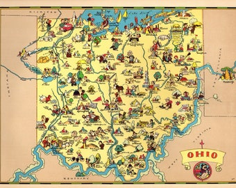 Ohio State Map Etsy - Map of state of ohio