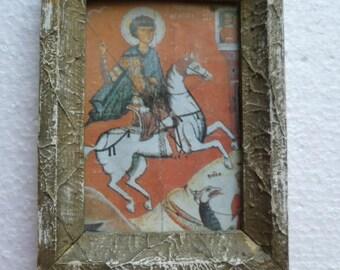 Vintage Saint St. George  Orthodox paper icon in wood frame, Orthodox gifts,