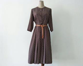 Vintage Autumn Colour Vintage Dress/ Vintage Japanese Dress/ Vintage Dress / Rockabilly Dress / Women Dress