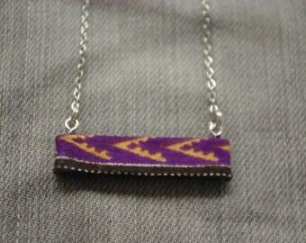 Purple African fabric pendant necklace