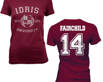 Fairchild 14 Idris University on Women tee Maroon