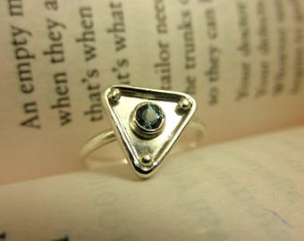 Labradorite Triangle Ring (Size 6), Labradorite Ring, Labradorite Geometric Ring, Labradorite Ring